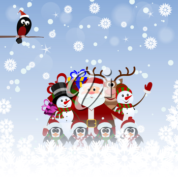 Greeting Christmas card with Santa Claus, reindeer, snowman, penguins and bullfinch