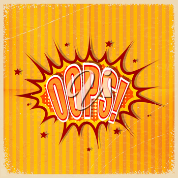 Cartoon Oops on an old-fashioned yellow background. Retro style. Vector illustration.