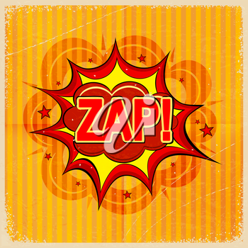 Cartoon blast ZAP! on a yellow background, old-fashioned. Vector illustration.