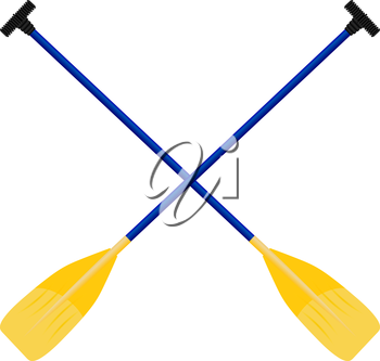 Paddles yellow-blue isolated on white background. Vector illustration.