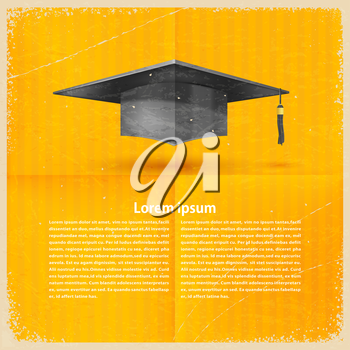 Vintage retro background with a cap and a graduate of the text. Vector illustration