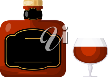 Cognac on a white background. A bottle of cognac or a glass of brandy. Isolate. Cartoon style. Stock vector illustration