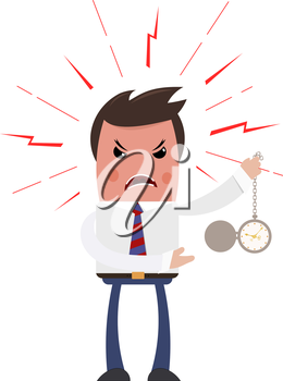 Angry boss on a white background. Sleek style. Unhappy with the head of a clock in his hand. The color image is an industrial dispute. Business theme. Stock vector illustration