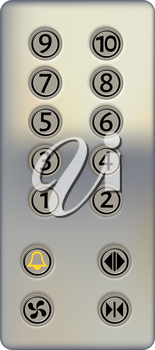 Control panel of the elevator on a white background. Metal elevator panel with buttons and numbers of floors. Realistic style. Vector illustration of the elevator panel. Isolated object