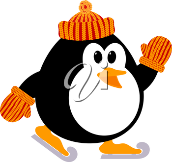 Vector illustration of a cute little penguin in a knitted cap and mittens skating. Winter sport. Figure skating. Baby penguin playing on the ice.
