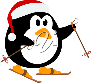 Vector illustration of cute little penguin wearing a hat of Santa Claus on skis. Winter sport. 