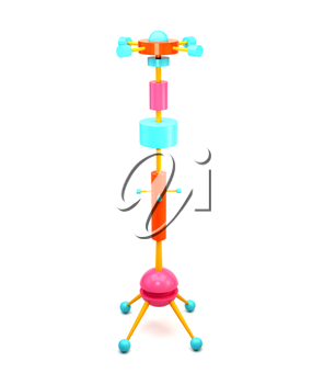 3D illustration of brightly colored wooden clothes hangers in the Memphis style. The modern trend style. Memphis hanger 