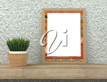 Mock up interior. Frame with bright ethnic ornament. Green grass in a pot on a wooden table. Rough gray plastered wall. 3d rendering