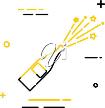 Flat linear icon of a bottle with a flying stopper. Linear style. Sign of joy and victory. Vector illustration