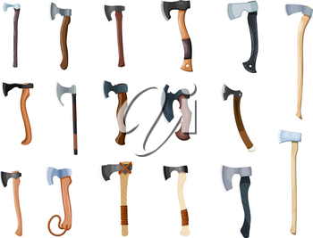 Large collection of color images of axes on a white background. Vector illustration of a set of cartoon style axes