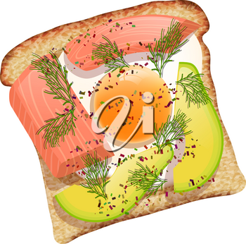Toast with avocado and salmon on black bread. Vector illustration of wholesome food, sea fish and avocado on a white background. Sandwich with vitamin ingredients illustration