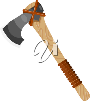 Color image of an ax on a white background. Vector illustration of an axe in a cardboard style. Tool for working on wood. Carpenter's Symbol hatchet