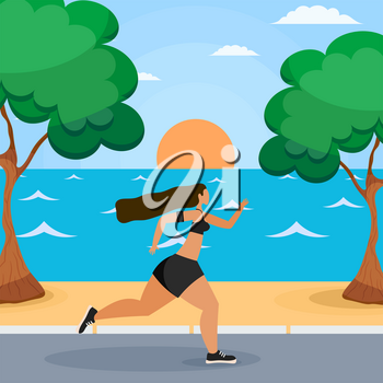 Young woman running along the seashore. Seascape with sunsets, trees, seashore and sand and a young girl running. Sport and a healthy lifestyle for young people. Vector illustration