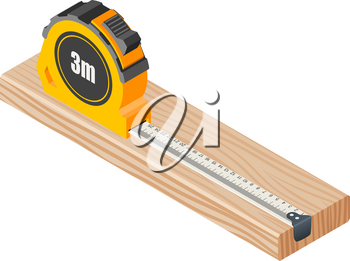 Isometric Wooden block with measuring tape isolated on white. Vector illustration