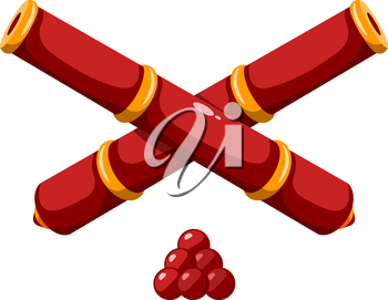 Color image of two crossed cannon barrels on white background Cartoon style. Vector illustration