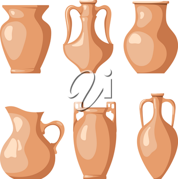 Set of clay jugs on a white background. Collection of a pitchers for liquid and grain. Vector illustration of a dish of clay