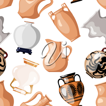 Seamless of antique utensils for food on a white background  vintage amphorae for wine, grain, oil and incense. Cartoon style. Vector illustration