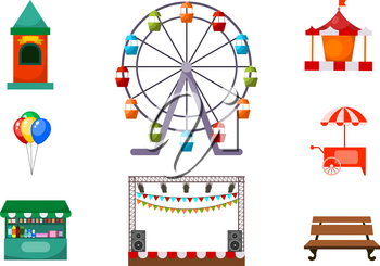 Set of amusements in the park. Vector illustration