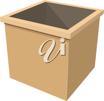 Simple wooden box on white background vector illustration