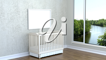 Children's room with landscape, river, and cot. 3D rendering