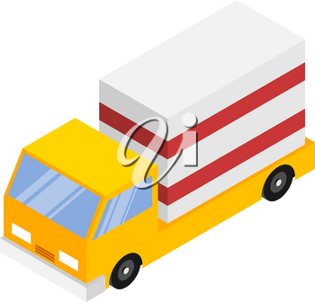 Vector illustration of a truck with cargo in isometric style on a white background. The concept of logistics, freight, transportation services. Vector stock drawing of a car with a mail box