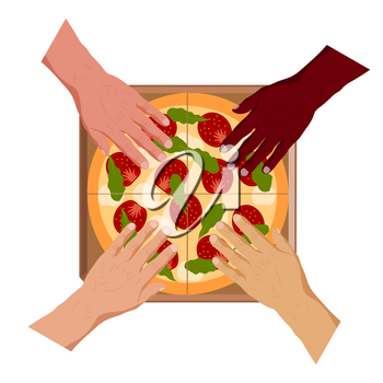 Human hands and slices of pizza on the background of a cardboard box. Vector illustration