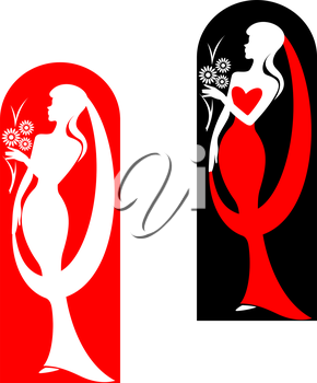 Beautiful bride with flowers in red for wedding design. Vector illustration