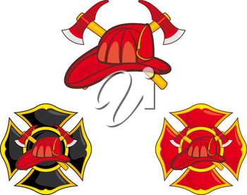Firefighters symbols set isolated on white. Vector illustration