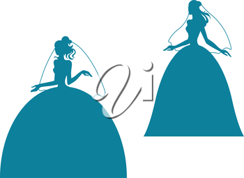 Young bride silhouette in wedding dress. Vector illustration