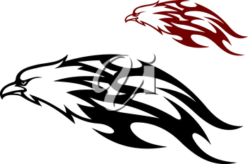 Flying speeding eagle icon with a cruel sharp beak trailing flames behind it in two color variants, black and red, vector illustration