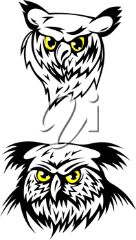 Two black and white vector illustrations of the heads of fierce looking owls with glowing yellow eyes