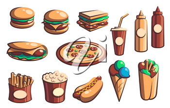 Fast food retro icons with vector burgers, drinks and desserts. Hamburger, pizza, hot dog and sandwich, french fries, soda and cheeseburger, ice cream, popcorn, mexican burritos and taco with sauces