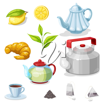 Tea vector set with green leaves, cup or mug of hot beverage, teapots and bags of black and herbal tea, kettle, croissant and lemon. Breakfast drink, pastry dessert and kitchen utensils design