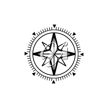 Wind-rose tool showing wind speed and direction isolated monochrome icon. Vector cardinal direction tool, compass rose marine navigation instrument. Retro compass with dial, wind measure equipment
