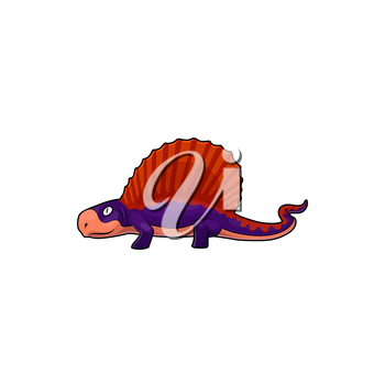 Spinosaurus isolated spine lizard, cartoon theropod dinosaur in blue and orange. Vector animal of prehistoric period, big ancient lizard. Dino with tall neural spines on back vertebrae of Spinosaurus