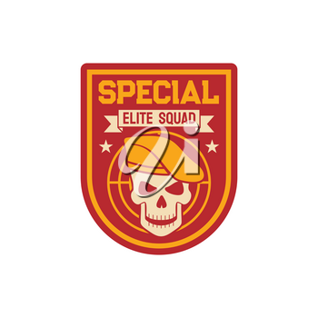 Elite special squad navy marine maritime or aviation forces isolated patch on military officer uniform with skull in beret cap with target. Vector insignia of armed forces of naval and avian warfare