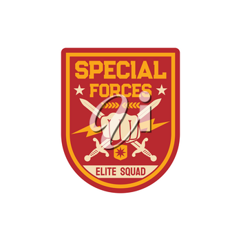 Squad infantry troops, military chevron with crossed sword and fist, thunders isolated army insignia on officer uniform. Vector special forces US army mascot, military sub-subunit, trooper badge