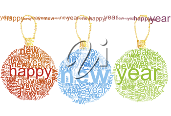 Royalty Free Clipart Image of a Happy New Year Typographic Decorations