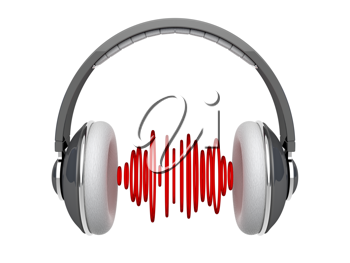 Royalty Free Clipart Image of a Pair of Headphones with Sound Waves