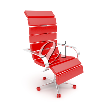 Royalty Free Clipart Image of a Red Office Armchair