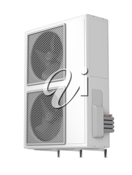 Outdoor unit of central air conditioner, isolated on white