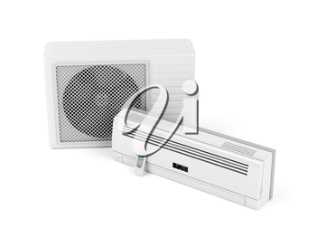 Split system air conditioner on white background