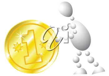 Royalty Free Clipart Image of an Android Pushing a Coin