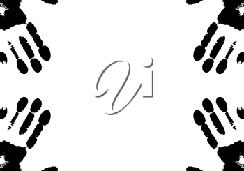 Handprints on frame. Vector illustration. Black-and-white.