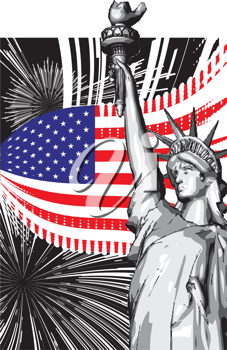 Royalty Free Clipart Image of the Statue of Liberty Against the American Flag