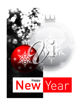 Royalty Free Clipart Image of a Happy New Year Greeting With Ornaments
