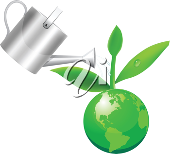 Royalty Free Clipart Image of a Watering Can on a Globe With a Plant