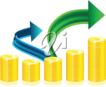 Royalty Free Clipart Image of Stacked Coins and Arrows