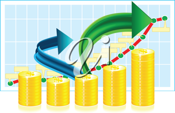 Royalty Free Clipart Image of a Financial Graph With Arrows