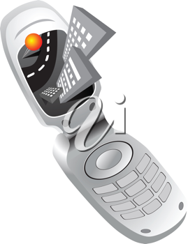 Royalty Free Clipart Image of a Mobile Phone With a Road and Buildings